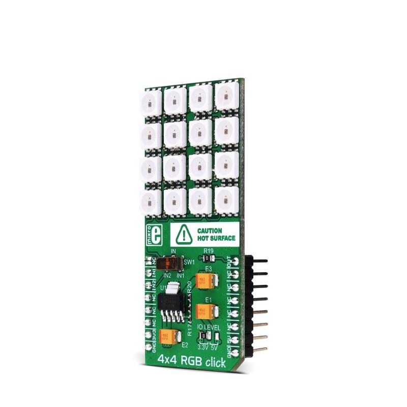 4x4 RGB click — board with a 16 RGB LED matrix