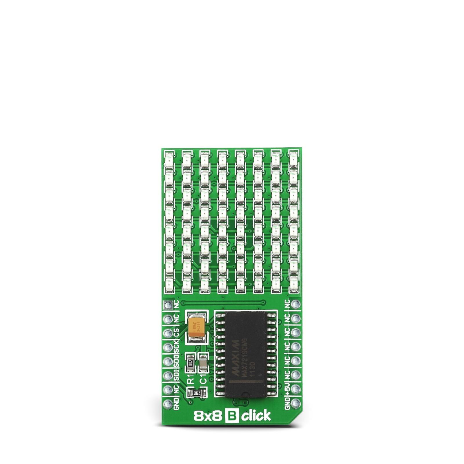 8x8 B Click - Serial 8x8 LED Matrix Display (BLUE)