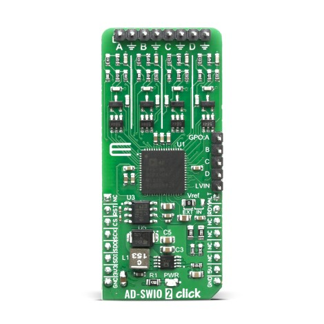 Shop Click Boards Mixed Signal ADC-DAC AD-SWIO 2 Click Front