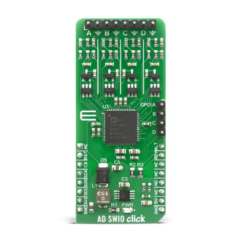 Shop Click Boards Mixed Signal ADC-DAC AD-SWIO click Front