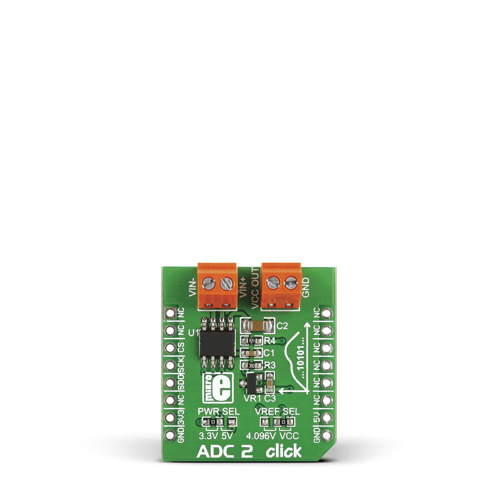 ADC 2 click — board with MCP3551/3 22-bit ADC