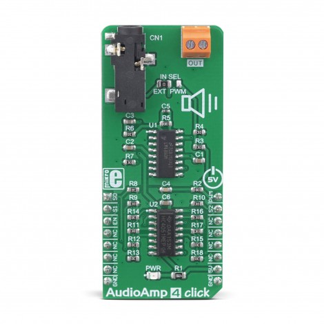 MikroE Audio and Voice AudioAmp 4 Click front