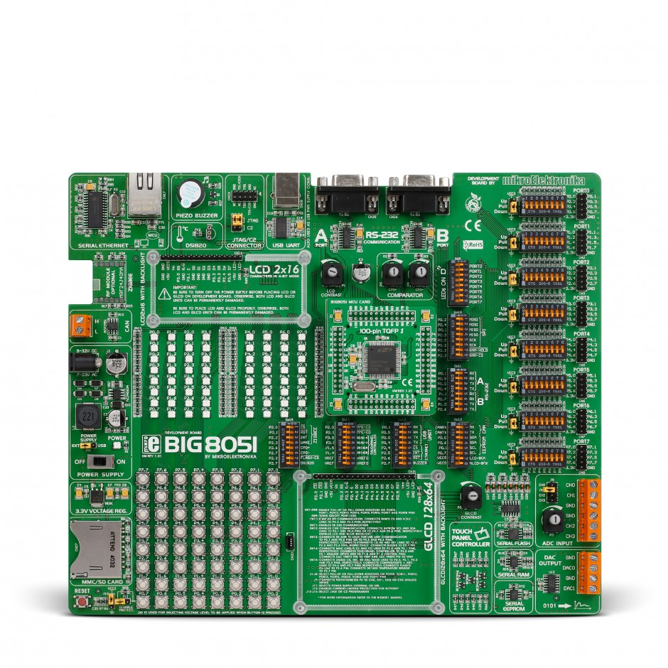 Big8051 Development System Silabs C8051 Board Led Interfacing With 8051 Microcontroller Circuit Front