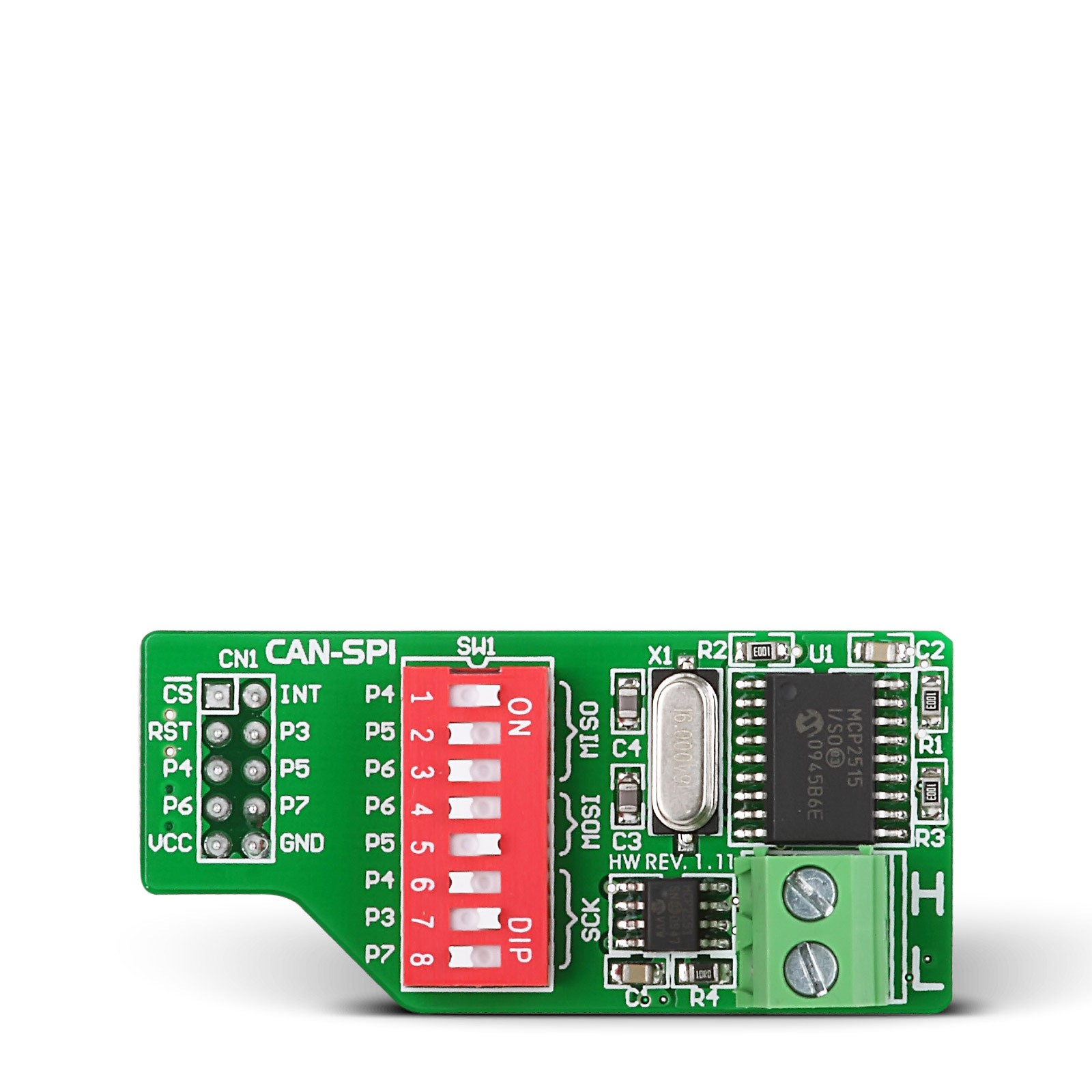 CANSPI Board - Serial CAN Interface with MCP2515 Transciever
