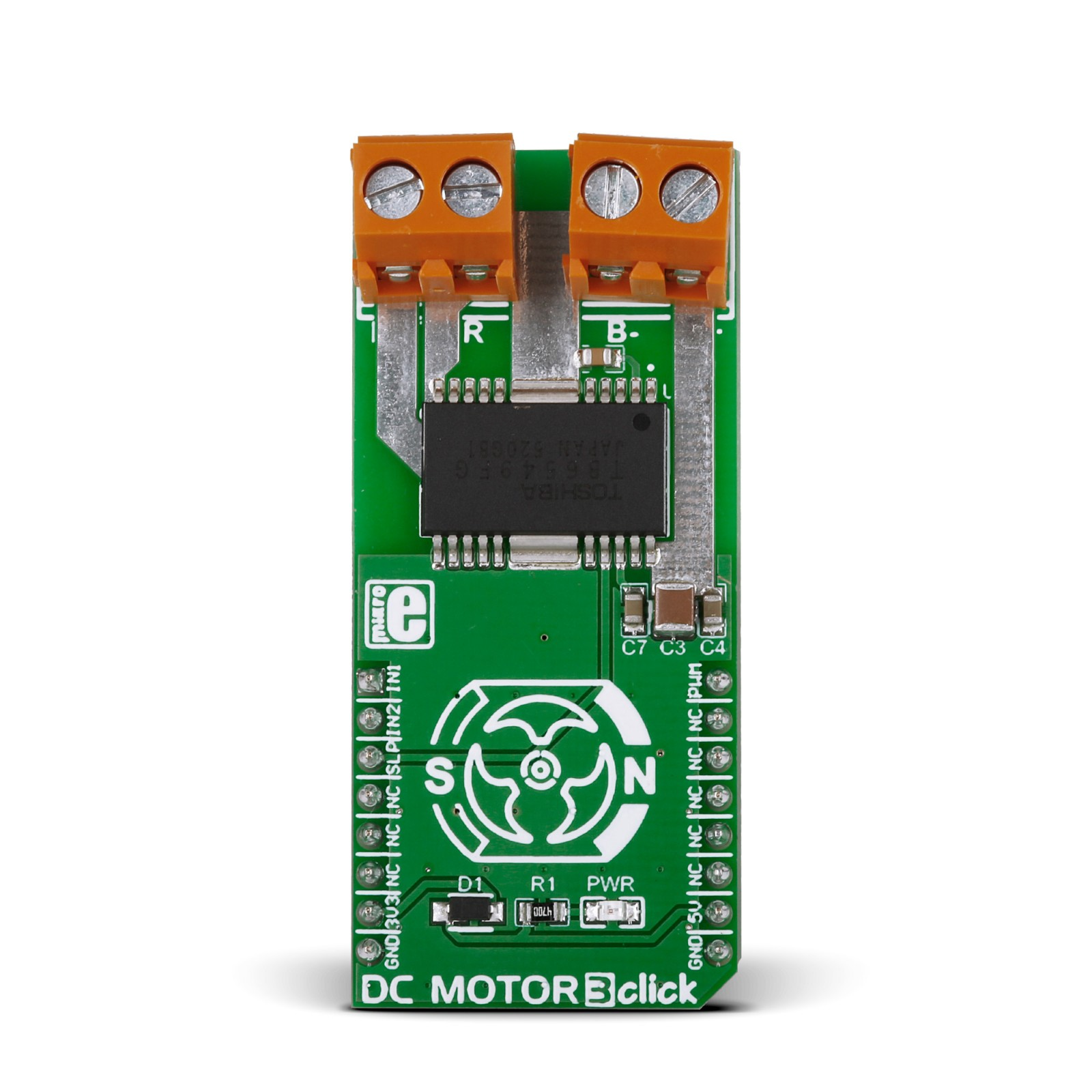 dc motor 3 click \u2013 board with toshiba tb6549fg ictap to expand