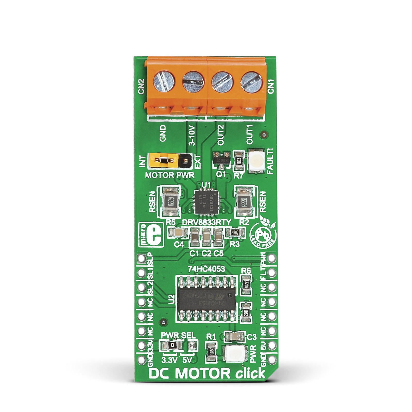 DC MOTOR click - Driver board with DRV8833RTY H-Bridge motor ... on