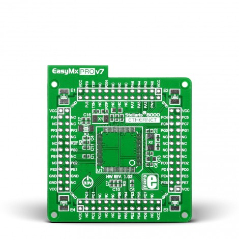 MikroE Ethernet empty MCU card for 100-pin TQFP Stellaris 8000 series