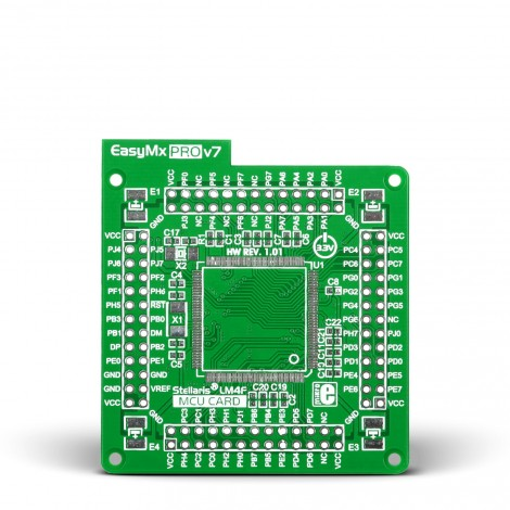 MikroE Standard empty MCU card for 144-pin TQFP Stellaris LM4F series