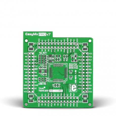 Mikroe EasyMx PRO v7 for Tiva Empty MCU card for 64-pin TQFP TM4C123 series