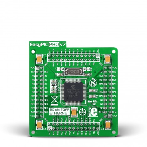 Mikroe EasyPIC PRO v7 MCU card with PIC18F87J60 ETH