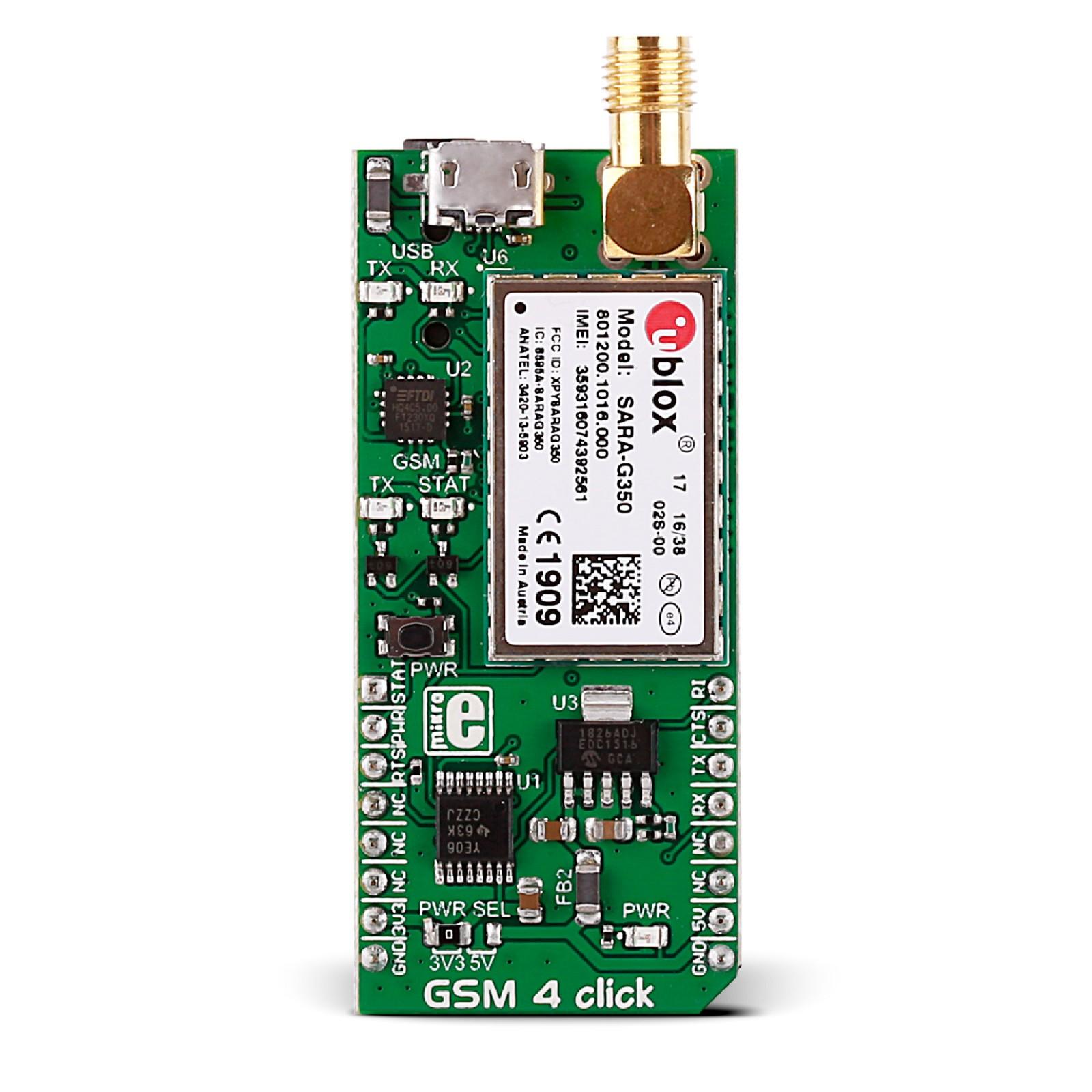 GSM 4 click — board with u-blox SARA-G3 module