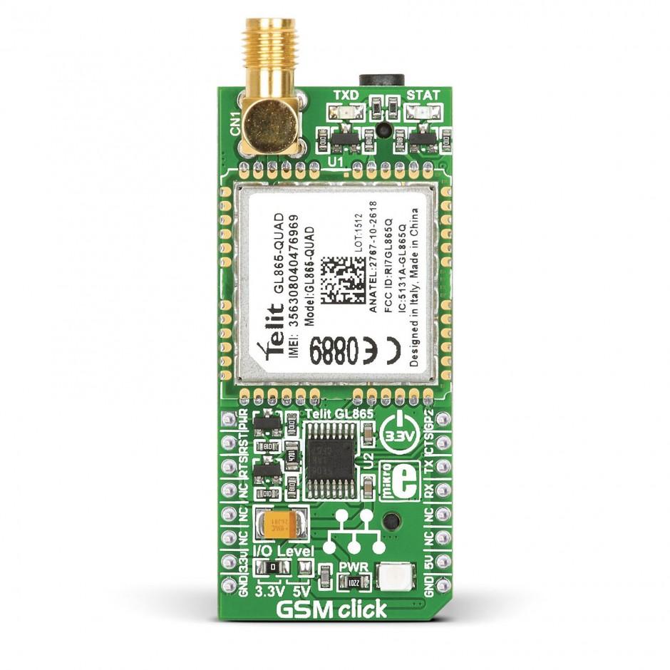 Gsm Click Breakout Board For Telit Gl865 Gprs Quad Module Interfacingdtmfdecoder8051microcontroller Interfacedtmf8870ic