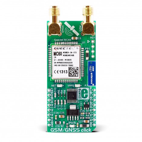 Mikroe Wireless Connectivity GSM/GNSS click front