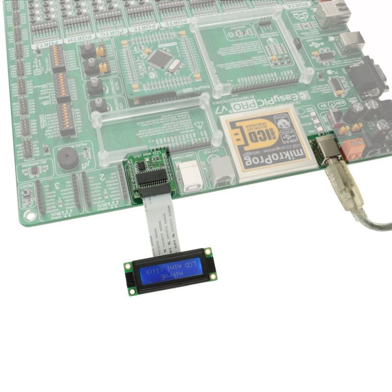 LCD mini click — displays 16x2 monochrome characters on a LCD display