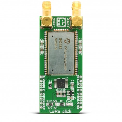 Mikroe Wireless Connectivity LoRa click front