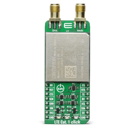 Shop Click Boards Wireless Connectivity LTE IoT LTE Cat.1-EU click (for Europe) Front