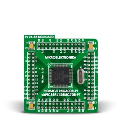 80-pin MCU card with PIC24FJ96GA008