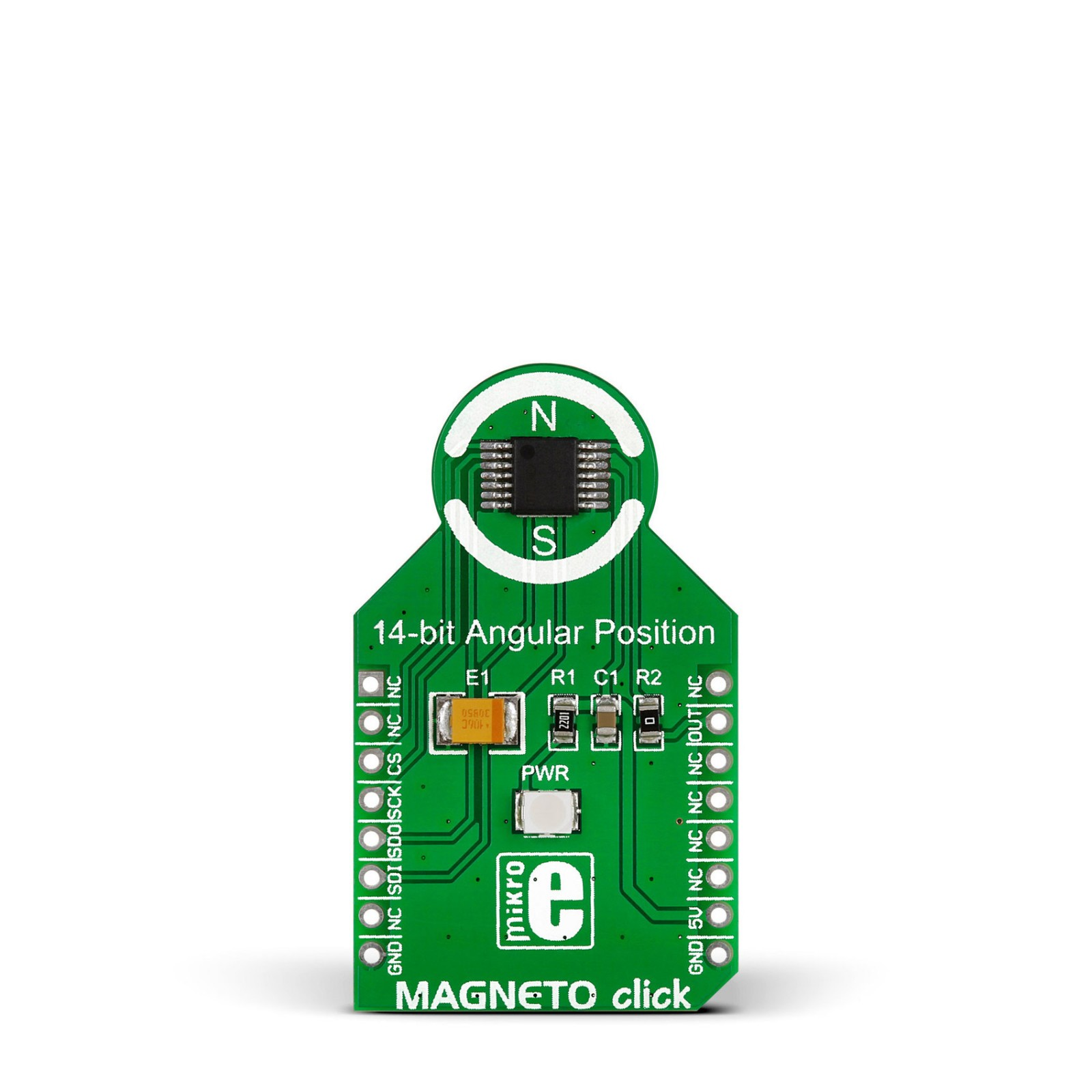 magneto click board with as5048a contactless magnetic angle