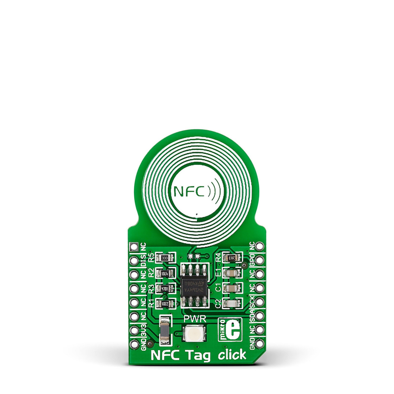 NFC Tag click carries an M24SR64 NFC/RFID tag IC with a dual