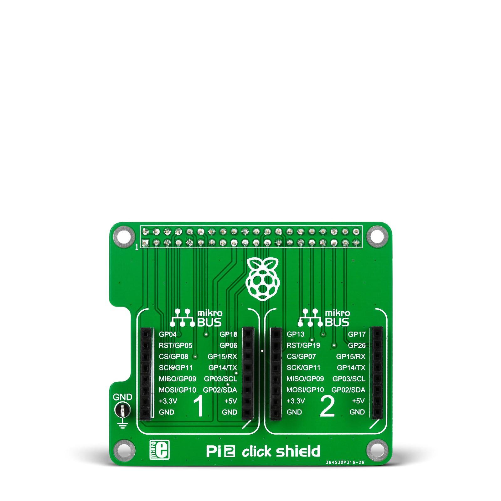 2x mikroBUS Interface for Raspberry Pi 2B//B+ Pi 2 click shield