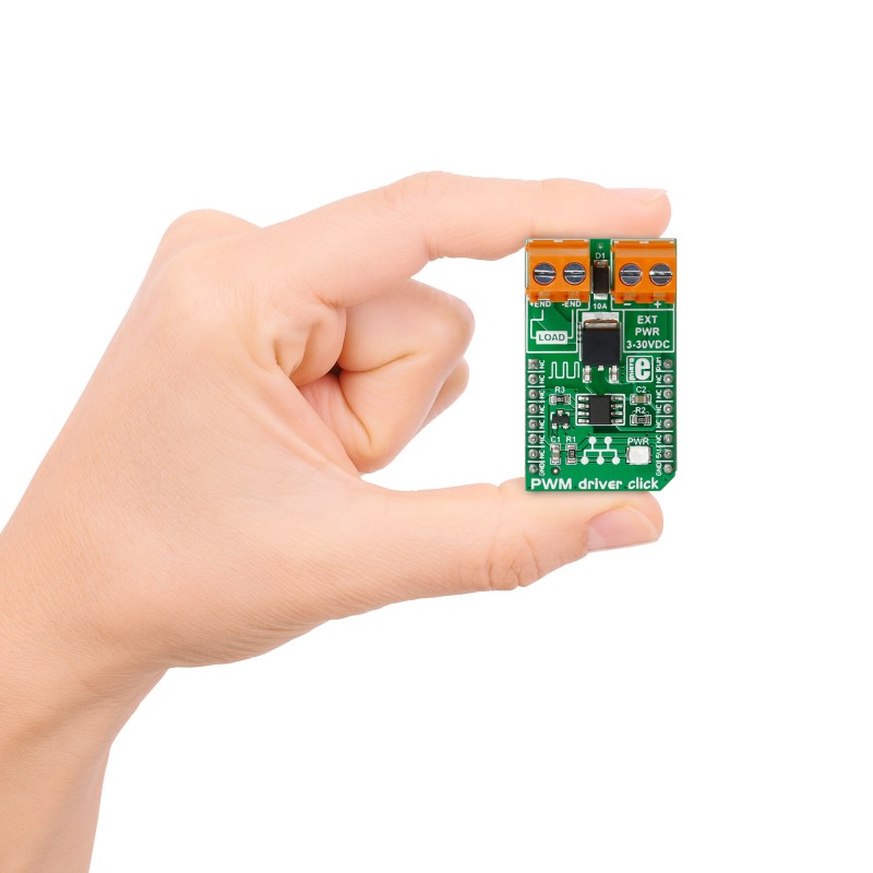 PWM driver click — board with Si8711CC isolator from Silicon