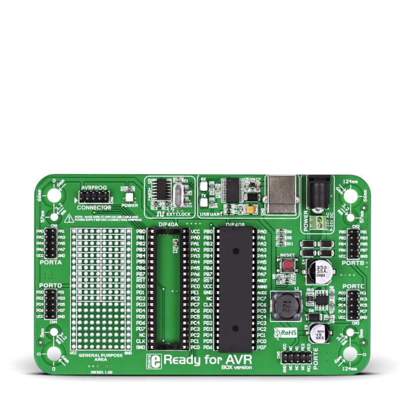 Mikroe Ready for AVR Board front