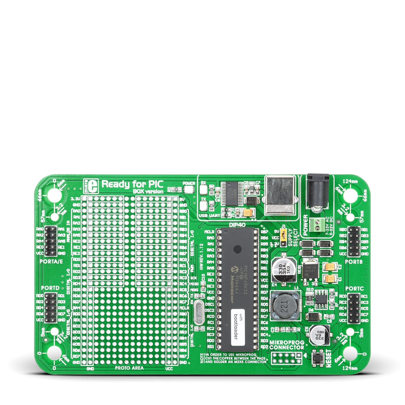 Ready for PIC - 40 Pin PIC Development Board with PIC18F45K22