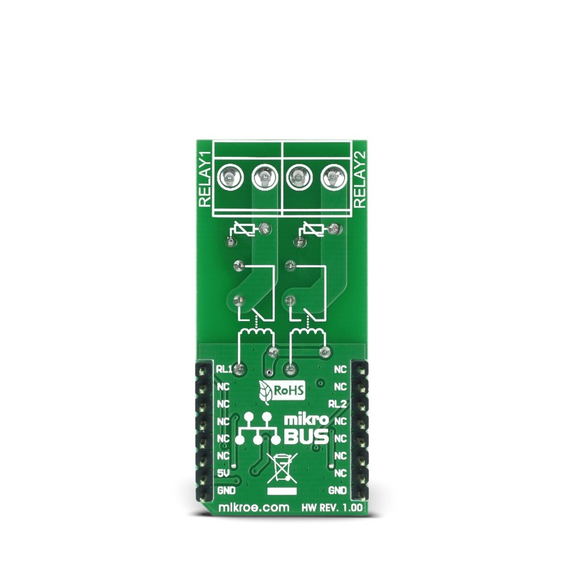 RELAY Click board features two G6D1AASI5DC power PCB relay modules