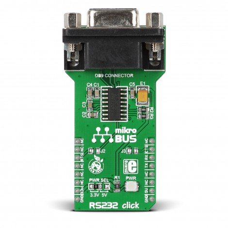 rs232 click features a standard rs232 db9 port and a max3232 ic rh mikroe com