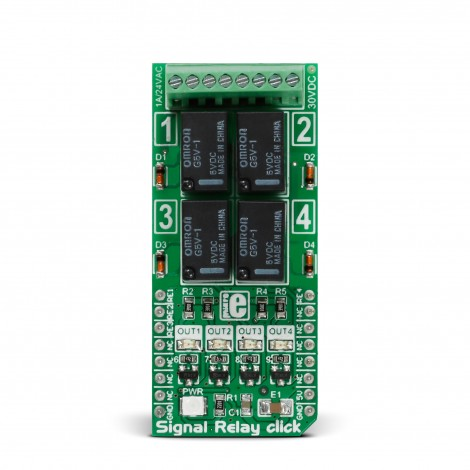 MikroE Miscellaneous Signal Relay click front