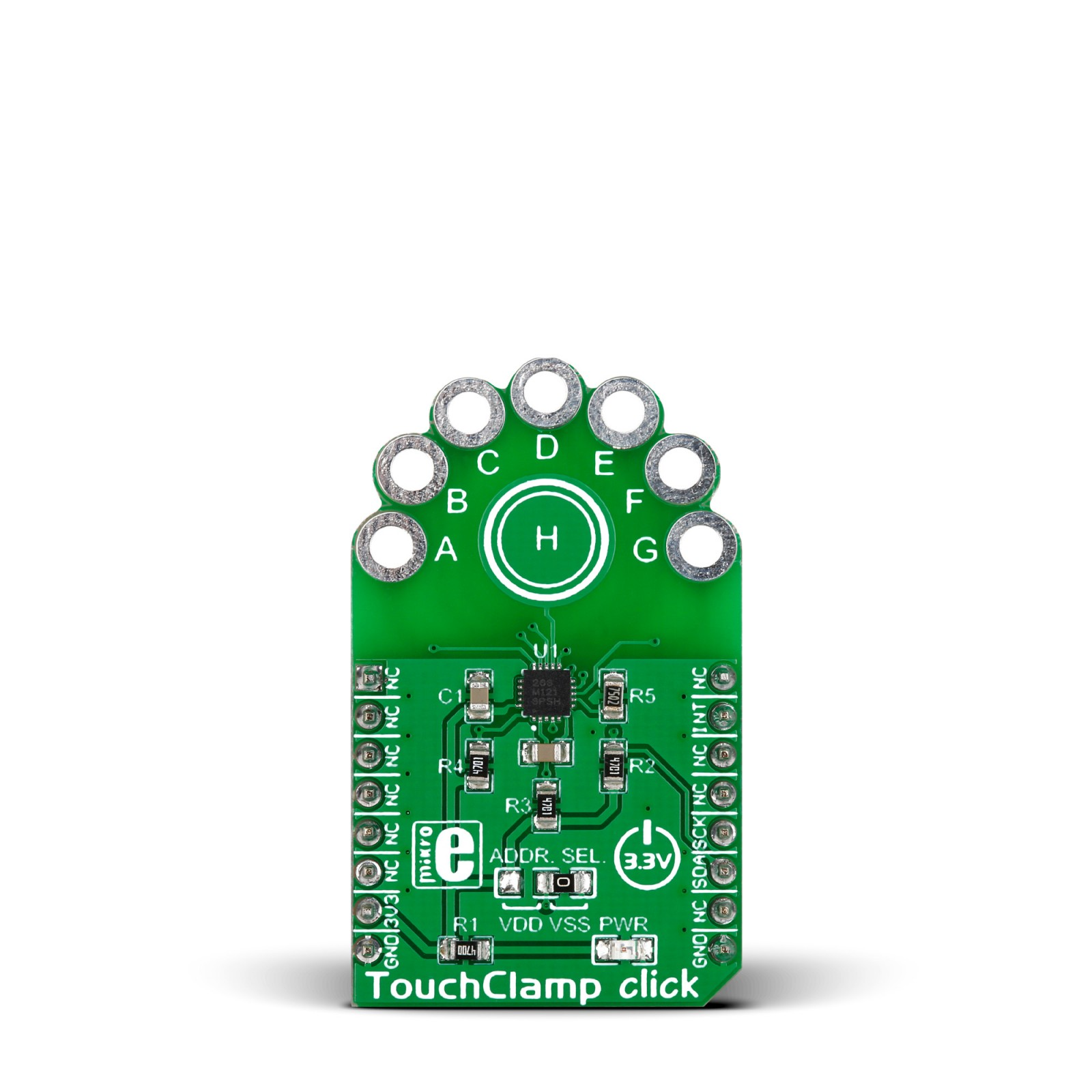 touchclamp click \u2013 add on board with mpr12 proximity capacitiveview larger mikroelektronikas touchclamp click front tap to expand