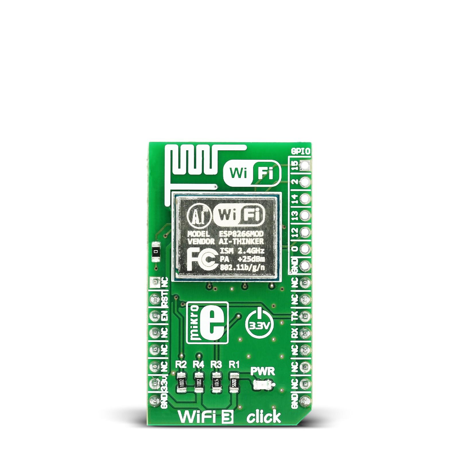 WiFi3 click is a WiFi add-on board carrying ESP8266MOD